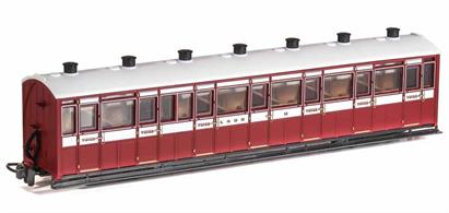 A detailed model of the Lynton & Barnstaple Railway enclosed all-third class coaches which were used on trains throughout the year.Finished as L&B coach 14 in lake and cream livery.Length 167mm over couplings