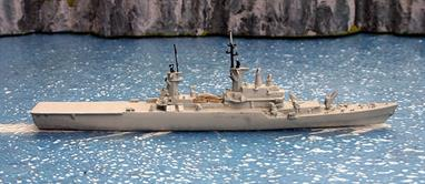 A 1/1250 scale second-hand model of the Italian missile cruiser Vittorio Veneto in 1969 to 1980s condition by Hai 140.This second-hand model is in good condition but, as the photograph shows, it needs to have additional work such as contrasting painted decks and small details to improve the model to the standards expected in today's market.