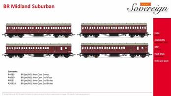 Pack of 4 LMS suburban coaches finished in British Railways maroon livery comprising Hornby coaches R4689, R4690, R4691 and R4691A.This pack models a typical LMS 4 coach suburban train set formed Brake Third, Composite, Third, Brake Third.A bargain price compared to the regular price of £44.99 per coach!