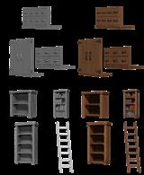 Building interior detailing set comprising bookshelves, cupboard and filing drawer frontages.Ideal for a cleric or wizard's study.