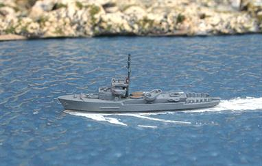A 1/1250 scale secondhand model of Diana a Spanish patrol boat of 1958 by Hermann HL106.This model is in good condition in dark grey paint but there is some damage to the paintwork on the mast, see photograph.