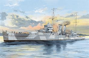 HMS York York-Class Heavy Cruiser Kit, Length: 500.8mm   Beam: 49.7mmGlue and paints are required