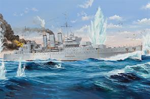 Trumpeter has extended its range of 1/350 quality plastic kits of 20th century Royal Navy warships, in this case a Kent class heavy cruiser that was to be lost off Ceylon. The model is built from 380+ parts and nicely detailed, dimensions being L: 548.5mm, W: 65.6mm, Total parts: 380+
