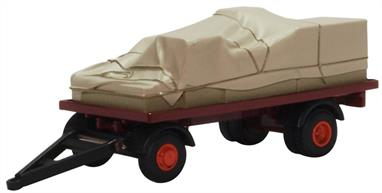Oxford Diecast 76CTR002 1/76 Canvassed Trailer Maroon/Red