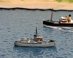 A 1/1250 scale model of HMRC Vigilant ex-HMS Benbecula by Solent Models SOM 16. The Isles-class armed trawler was bought by the Customs & Excise Service in 1947 and worked on the Thames until 1953 when she was transferred to Southampton. She was sold in 1962