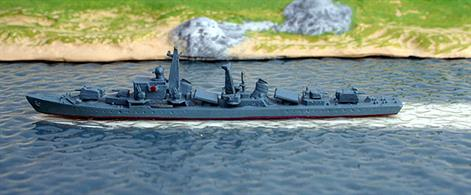 A 1/1250 scale secondhand model of a Luta-class destroyer of the PLAN in 1971 by Hai 3. The model is in good condition, see photograph.