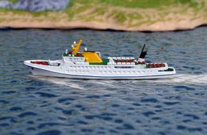 A 1/1250 scale metal model of the Helgoland ferry and trip boat Fair Lady in 2018 by Rhenania Junior RJ319.