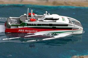 A 1/1259 scale model of Halunder Jet, a new fast ferry for 2018 running from Cuxhafen to Helgoland by Rhenania Junior Miniatures RJ267.
