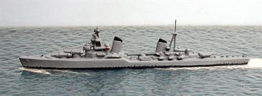 A 1/1250 scale secondhand metal model of Kirov a Russian light cruiser from WW2 by Wiking WM492SU. The model is in very good condition but, as a model which is at least 60 years old, it is not up to current standards for a model in this scale, see photograph.