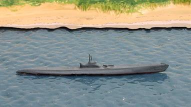 A 1/1250 scale secondhand metal model of an I.40-class submarine from WW2. The model is in reasonable condition but the original maker is unknown.