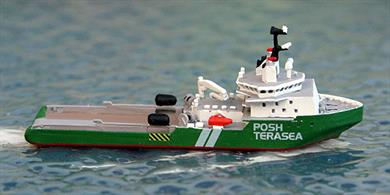 A 1/1250 scale model of Terasea Eagle an offshore support tug registered in Singapore and currently working in the Far East. The model is made by Rhenania Junior Miniaturen, RJ265.