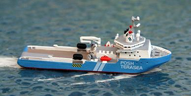 A 1/1250 scale metal model of Terasea Hawk by Rhenania Junior Miniaturen RJ265A. Terasea Hawk is a sistership of Terasea Eagle but here modelled in blue livery, see photograph. Terasea Hawk is currently working around the Canary Islands.