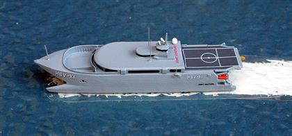 Joint Venture a trials ship of both the US Navy and Army from 2001-2005 modelled by Rhenania Junior Miniaturen RJN120.Following a re-fit, this ship is now the Isle of Man Steam Packet Company's Manannan.