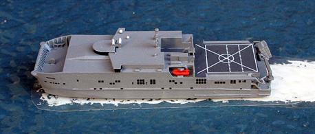 "A 1/1250 scale metal model of USNS Spearhead-class T-EPF by Rhenania Junior Miniaturen RJ113A. Waterslide transfers are provided to number all vessels from T-EPF2 to T-EPF9. The EPF designation is for ""Expeditionary Fast Transport"" and all ships are manned by the USN Service."