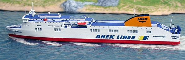 A 1/1250 scale model of Asterion, an ANEK ferry by Rhenania Junior Miniaturen RJ260Ast. This waterline ship model is fully assembled and painted, see photograph.