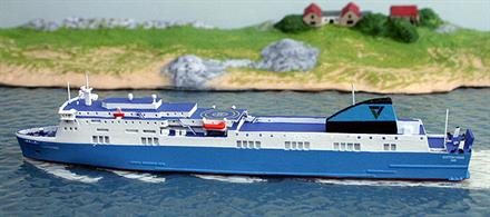 A 1/1250 scale model of Scottish Viking for Scandinavia Line by Rhenania junior RJ260SVSc. See photograph.