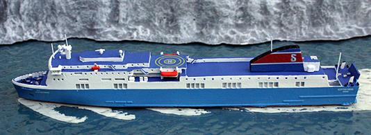 A 1/1250 scale model of Scottish Viking by Rhenania Junior Miniaturen RJ260SVSt. This model is a fully finished and painted metal model in Stena Line livery, see photograph.