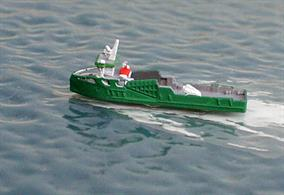 A 1/1250 scale model of Goulphar a very small Ro-Ro vessel working around small ports in the Gulf of Morbihan in France. This model is made by Rhenania Junior Miniaturen RJ326.