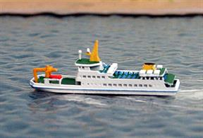 A 1/1250 scale model of Baltrum 1 (ex-Baltrum V) a Friesian Islands ferry by Rhenania Junior Miniaturen RJ323.