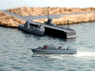 A 1/1250 scale second-hand model of Niobe a German patrol boat of 1957 by Hansa S21. The model is in reasonable original condition, see photograph.