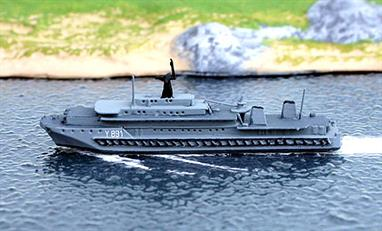 A 1/1250 scale model of Alymark the German tender, depot and repair ship from 1989 by Albatros SM Alk235