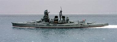 A 1/1250 scale second-hand model of IJNS Kongo by Navis Neptun 1206sh. This model is in good condition painted dark grey with a float plane on the catapult, see photograph.