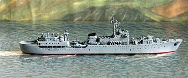 A 1/1250 scale metal waterline model of Gangut, a Borodino-class training ship of 1972 by Spidernavy SN 3-14. The design of the ships of this class was based on a Ugra-class submarine depot ship and all these ships had been withdrawn by 2000although one continued in service with the Indian Navy until a few years ago.