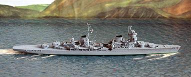 A 1/1250 scale metal model of Kuybyshev by Spidernavy SN 3-21. This model of a Chapaev-class cruiser represents the ship after re-fit and the fitting of a different air-defence radar to that on SN 3-07.