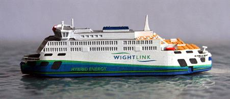 A 1/1250 scale metal model of Victoria of Wight, a new hybrid energie ferry for Wightlink by Rhenania Junior RJ330.So far only a sample demonstration model has been received by Antics but we expect many more to arrive by January.