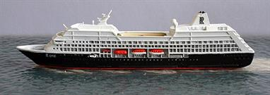 A 1/1250 scale model of R-One from 1998-2001 by CM Miniaturen CM-KR595.R-One was the first of eight Renaissance Cruises R-class ships to be built and enter service. Unfortunately, in 2001, the company went into liquidation and the ships were laid up, chartered to other companies many of whom bought the ships for further service. CM Miniaturen have now made Tahitian Princess (ex- R-Four) and Adonia (ex-R-Eight). R-One is currently called Insignia for Oceania Cruises after a short spell for HAPAG as Columbus 2 from 2012-14.