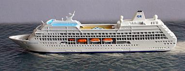 A 1/1250 scale model of Tahitian Princess by CM Miniaturen CM-KR590.Built as R-Four for Renaissance Cruises, she was bought as Tahitian Princess by Princess Cruises. In 2009 she was re-named Ocean Princess and sold to Oceania Cruises as Sirena in 2014. See also Adonia and R-One for other former R-class ship models.