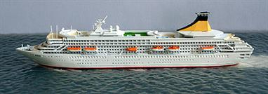 A 1/1250 scale model of Artemis of 2006 by CM Miniaturen CM-KR445.Artemis was built for Princess Cruises and named Royal Princess by Princess Diana of Wales in 1984. She became P&O's Artemis in 2006 and was sold to Phoenix Reisen in 2011 as Artania.