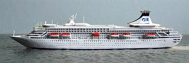 A 1/1250 scale model of Royal Princess from 1984-2005 by CM-Miniaturen CM-KR69.Royal Princess was named by Princess Diana of Wales in 1984 and remained with Princess Cruises until 2005 when she was transferred to P&O as Atremis. She was sold to become Phoenix Reisen's Artania in 2011.
