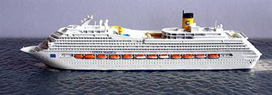 A 1/1250 scale model of Costa Magica from 2004 by CM Miniaturen CM-KR449.Costa Magica is sister-ship to Costa Fortuna built by Fincantieri on a platform equivalent to Carnival Cruises Destiny-class ships.