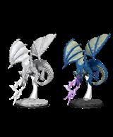 One unpainted small/young blue dragon wargaming figure.