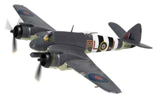 Corgi AA28601 is a limited production first release of a 1/72nd scale model of the RAF Bristol Beaufighter TF.X Aircraft NE829/PL-J by 144 Sqn, the Banff Strike Wing based in Aberdeenshire during late 1944.Usual top quality, detailing includes the torpedoes with which this variant was armed for anti-shipping strike action.