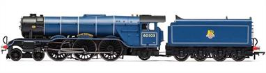 Detailed model of the famous Gresley A3 class 4-6-2 pacific Flying Scotsman finished in British Railways lined blue livery with BR number 60103.Era 4. Early British Railways 1948-1956.