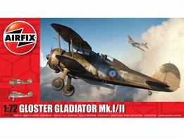 Airfix A02052A 1/72nd Gloster Gladiator Mk.I/Mk.II Biplane Fighter KitNumber of Parts 51    Length 118mm    Width 137mm