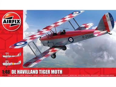 Airfix A04104 1/48th De Havilland DH82a Tiger Moth Trainer Aircraft KitNumber of Parts 91    Length 152mm    Width 184mm