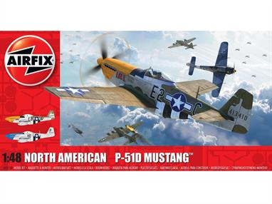 Airfix A05138 1/48th North American P-51D Mustang (Filletless Tails) Fighter Aircraft KitNumber of Parts 147    Length 205mm    Width 236mm