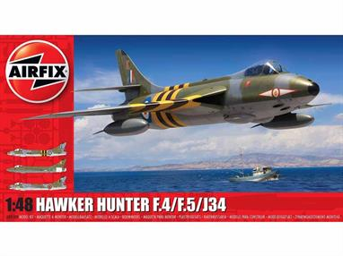Airfix 1/48 Hawker Hunter F4 Fighter Aircraft Kit A09189Number of Parts 124   Length 291mm Wingspan 214mm