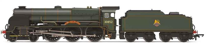 Detailed model of the powerful Lord Nelson class 4-6-0 express passenger locomotives built for the Southern Railway. Model finished as British Railways 30852 Sir Walter Raleigh in lined green livery with early lion over wheel emblem.Era 4 1948-1956