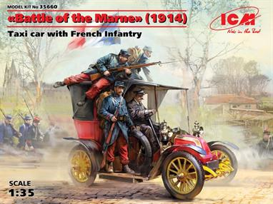 ICM 35659 Battle Of The Marne 1914 Taxi Car with French Infantry