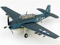 Detailed 1:72 scale model of the Grumman TBM-1C Avenger dive bomber aircraft Barbara III flown by Lieutenant and future President George H W Bush from the deck of the USS San Jacinto in September 1942.