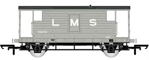 New model of the last design of LMS goods train brake van. These long wheelbase vans with large cabins were built from the mid-1930s, with the last batches built by British Railways after nationalisation.