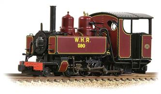 DCC and Sound fitted version of the Bachmann OO9 narrow gauge WW1 WD/ROD Baldwin 4-6-0T locomotives finished in lined maroon livery as ROD number 590, purchased by the Welsh Highland Railway.