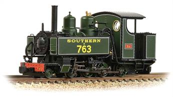 OO9 narrow gauge model of a WW1 WD/ROD Baldwin 4-6-0T locomotives finished in Southern Railway Maunsell green livery for servioce on the Lynton & Barnstaple Railway with the name SID.