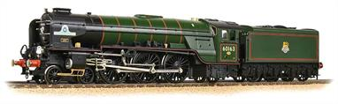 A truly superb model of 60163 Tornado, a completely new locomotive to the design by LNER chief engineer A H Peppercorn of the old Class A1 Pacific (4-6-2) design, none of which class was preserved. The model accurately reflects the details of Tornado as completed, including the tender which has been built for service on the modern railway.Suggested display case.Era 9. DCC Ready 8 pin decoder required for DCC operation.