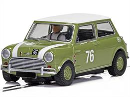 Scalextric C4059 1-32nd scale Slot Car of the Austin Mini Cooper S as seen at the Goodwood 2018.  Driven By Johnny Adam & Nick Swift
