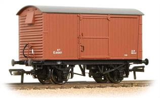 A model of the LNER design ventilated box van with corrugated steel end panels. This model is finished in the early BR bauxite livery.